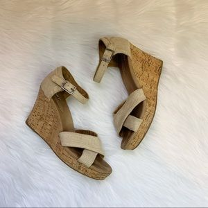 TOMS Sienna Espadrille Cork Wedge Sandals